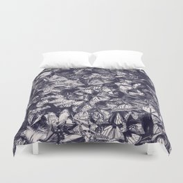 Indigo butterfly photograph duo tone blue and cream Duvet Cover