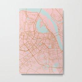 Pink and gold Hanoi map, Vietnam Metal Print