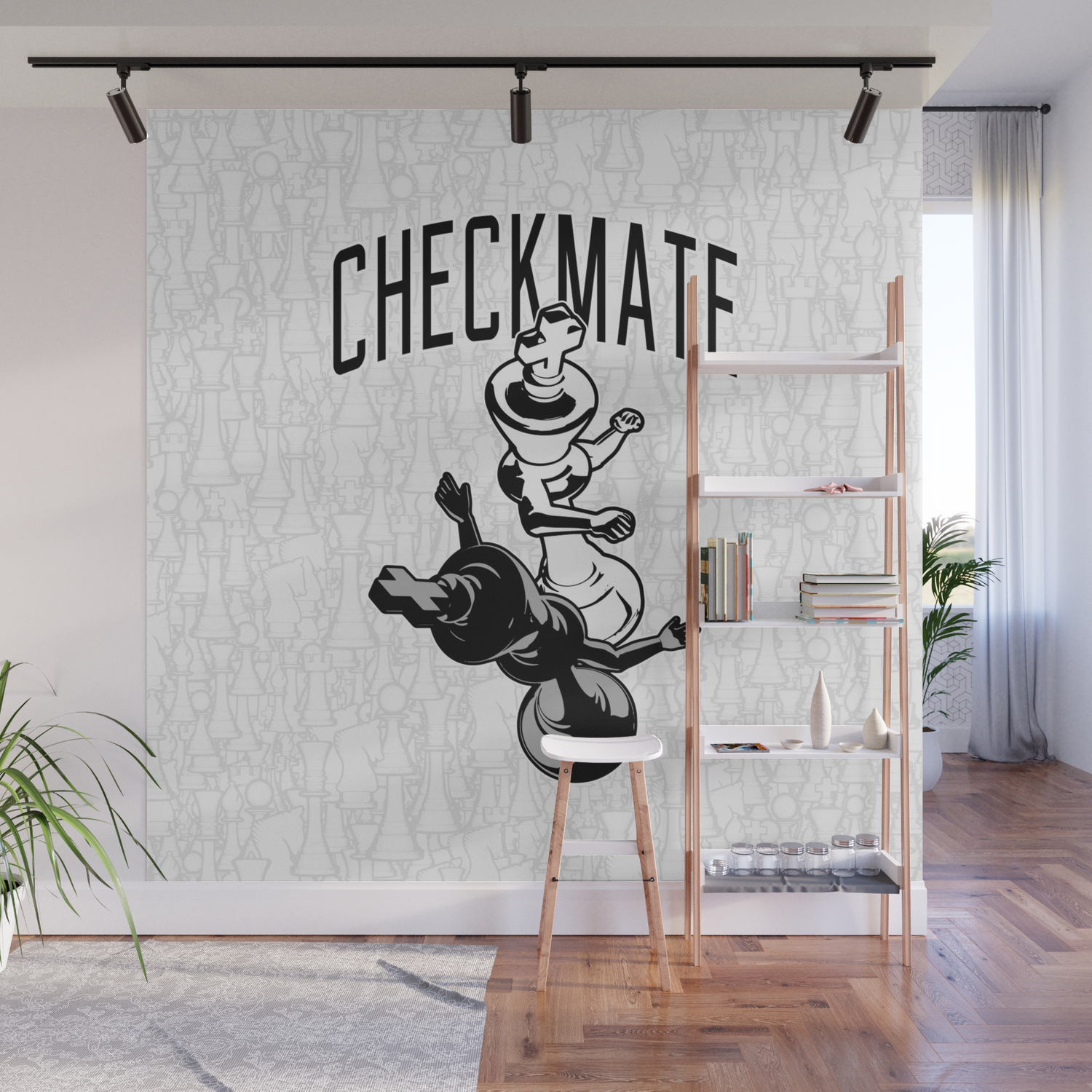 c6d10a36c Checkmate Punch Funny Boxing Chess Wall Mural by grandeduc | Society6