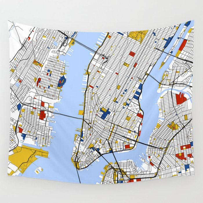 new york city map art print street map art wall tapestry