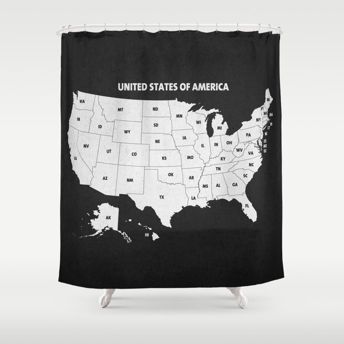 Black White USA Map Shower Curtain By Champagne