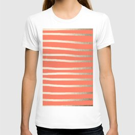 Simply Drawn Stripes in White Gold Sands on Deep Coral T-shirt