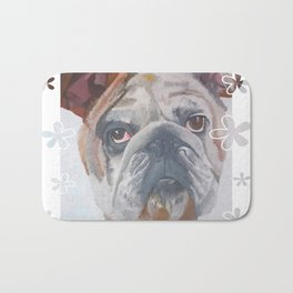 American Bulldog Portrait Vector With Decorative Border Bath Mat