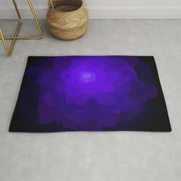 Glowing Blue Rose Emerging from  Darkness Rug