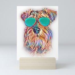 Miniature Schnauzer Colorful Neon Dog Sunglasses Mini Art Print