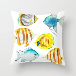 Tropical Fish - Marine Collection Throw Pillow