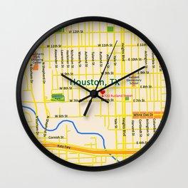 Map of Houston TX #1 Wall Clock