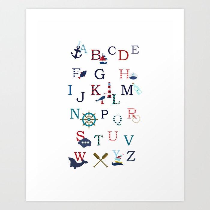 Nautical Nursery ABC Print Art Print by studioed