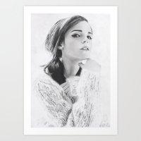 emma watson Art Prints featuring Emma Watson by fabio verolino