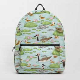 Graceful Geese and Gorgeous Goslings in Crisp Spring Weather Backpack