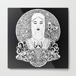 Girl with the moth Metal Print
