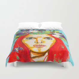 Red haired girl with flowers in her hair Duvet Cover