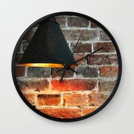 Light On A Brick Wall Wall Clock