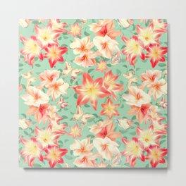 Spring Amaryllis and Butterflies Metal Print