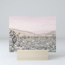 Mojave Pink Dusk // Desert Cactus Landscape Soft Cloudy Sky Mountain Scape Photograph Mini Art Print