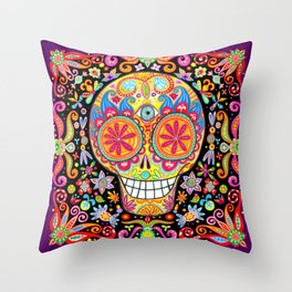 Sugar Skull Art by Thaneeya McArdle (Memento Mori) Throw Pillow