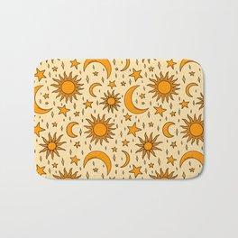 Vintage Sun and Star Print Bath Mat
