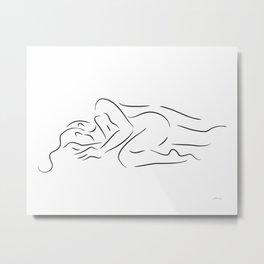 Romantic couple in bed sketch. Metal Print