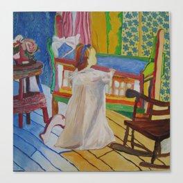 Happy Girl with Cradle Canvas Print