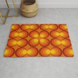 70s Circle Design - Orange Background Rug