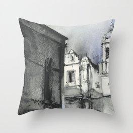 Spanish church in village in Colca Canyon, Peru.  Monochromatic artwork church painting watercolor a Throw Pillow