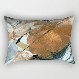 Chocolate Kisses [2]: A bold, minimal, abstract piece in pink, gold, brown, black and white Rectangular Pillow