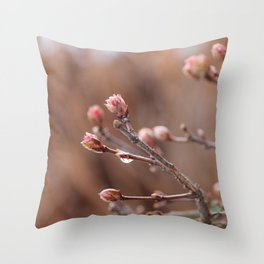 New Life -  Fresh Spring Buds after rain, Rose and earth tones, Nature Photography Macro Throw Pillow