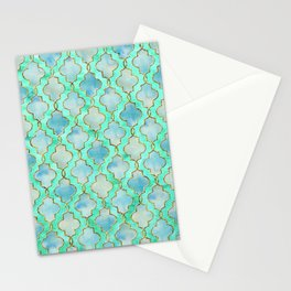 Luxury Aqua Teal Mint and Gold oriental quatrefoil pattern Stationery Cards