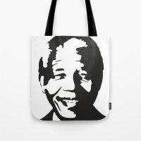 mandela Tote Bags featuring Mandela by b & c