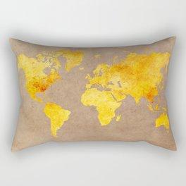 World map 3 gold Rectangular Pillow