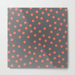 Simply Dots Deep Coral on Storm Gray Metal Print