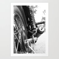 motorcycle Art Prints featuring Motorcycle by CABINWONDERLAND