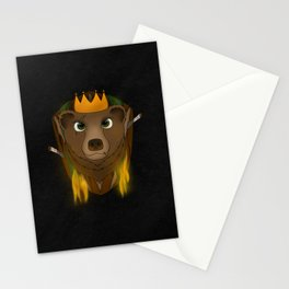"""The Warlord Bear"" Black Textured Background Stationery Cards"