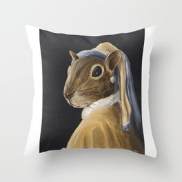 Squirrel with a Pearl Earring Throw Pillow