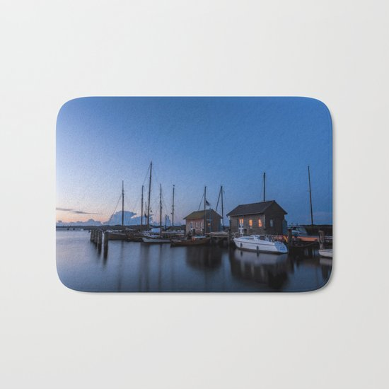 Blue hour at harbour I - Ocean Summer Night Boats- #Society6 Bath Mat