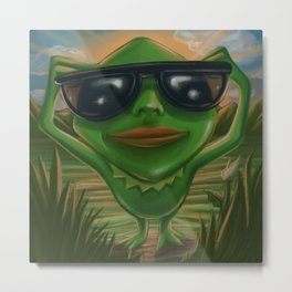 Cool frog with glases Metal Print