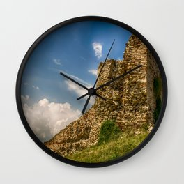 Ruins of an old fortress on a hill Wall Clock