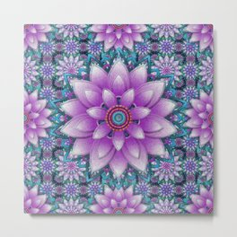 Embroidered purple & green Metal Print