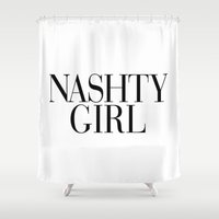 vogue Shower Curtains featuring Nashty Girl Vogue by RexLambo