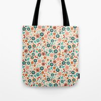 folk Tote Bags featuring Folk Flowers by Anna Deegan