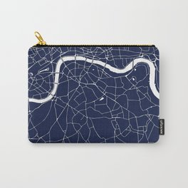 Navy on White London Street Map Carry-All Pouch