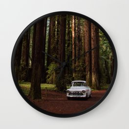 Classic White Truck in the Navarro Redwoods State Park in California, California Photography, Woodland Art, Magical Unique Print Wall Clock