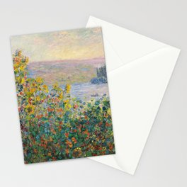 1881-Claude Monet-Flower Beds at Vétheuil-73 x 92 Stationery Cards