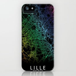 Lille, France, City, Map, Rainbow, Map, Art, Print iPhone Case