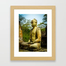 Buddha statue seated around stupa of The Polonnaruwa Vatadage Framed Art Print