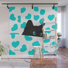 Cat on Blanket with Hearts Wall Mural