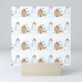 Christmas Snowman Pattern Mini Art Print