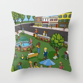 A Digital Day at the Fountain Throw Pillow
