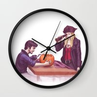captain swan Wall Clocks featuring Captain Swan Halloween by Svenja Gosen