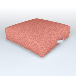 Pantone Living Coral Scallop Wave Pattern and Polka Dots Outdoor Floor Cushion